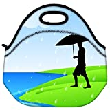 Snoogg Abstract Rainy Season Background With Silhouette Of A Man Holding Umbrella Travel Outdoor Carry Lunch Bag...