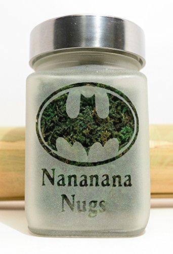 Twisted420Glass Retro Batman Glass Stash Jar - Nananana Nugs Etched Glass Herb Storage