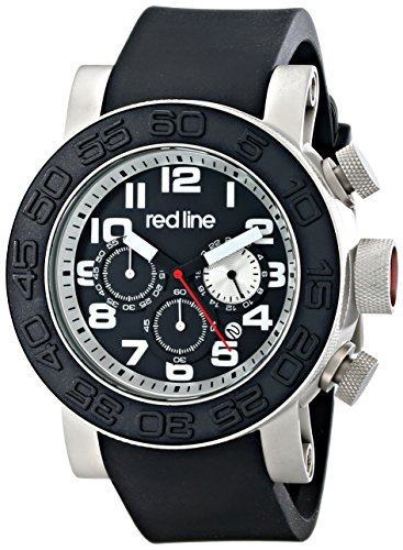 Red Line 50052-01-SA 52mm Ion Plated Stainless Steel Case Black Rubber Mineral Men's Watch