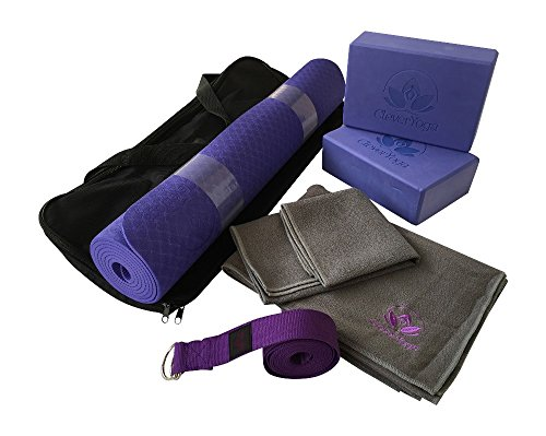 buy Clever Yoga Kit 7-Piece Set Bundle Including Ultra Thick 6mm TPE Mat, 2 Blocks, 8 Foot Yoga Strap, 1 Hand Towel, 1 Large Mat Towel and Extra Large Carrying Bag (Purple) for sale
