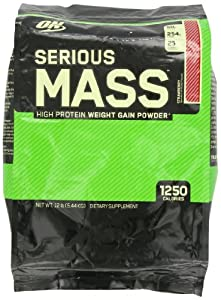 Optimum Nutrition Serious Mass Drink, Strawberry, 12 Pound