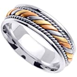 Handmade Twisted 14k Three-Tone Gold Band (6MM)