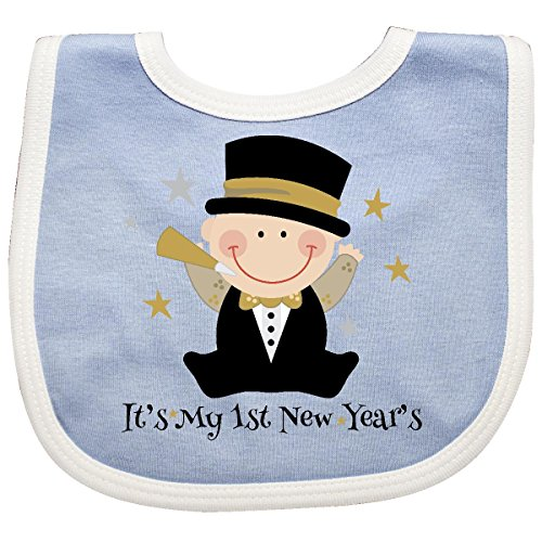 Inktastic Baby Boys' Baby's 1st New Year Baby Bib Blue/White