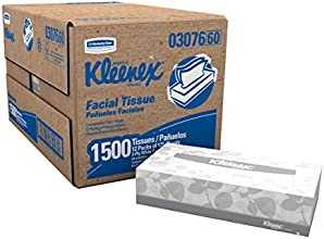 """Kimberly-Clark Kleenex 03076 Facial Tissue Convenience Pack, 8-25/64"""" Length x 8-3/16"""" Width, White (12 Boxes of 125)"""