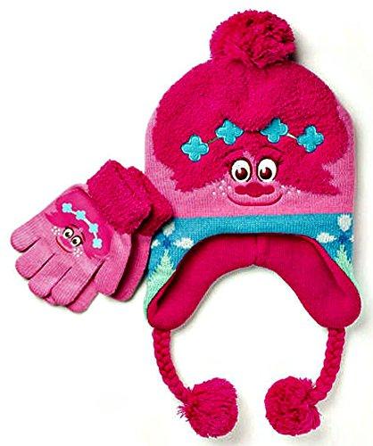 dreamworks-trolls-poppy-2016-knit-beanie-earflap-hat-with-braided-ties-tassels-and-glove-set