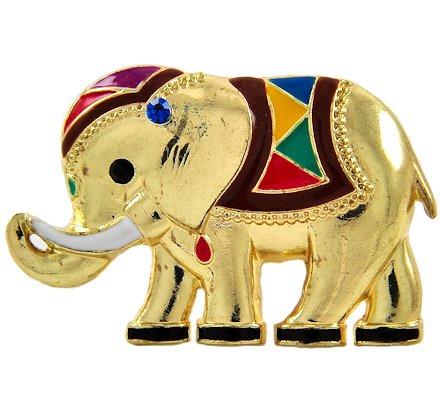 Gold Tone Multi-Color Epoxy Stretch Elephant Ring
