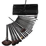 Youngman Professional Makeup Brush Set 24pcs Soft Bobbi Hair + Black Brown Brush Set Case
