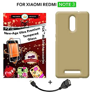 TheGiftKart™ Combo for Xiaomi Redmi NOTE 3 (Combo of 1 Back Cover + 1 Tempered Glass + 1 OTG Cable) - TheGiftKart™ ULTRA Premium Matte Rubberized Hard Back Cover (Golden) + 2.5D 0.3mm HD Tempered Glass Screen Protector + OTG Cable