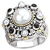 18K Yellow Gold and Sterling Silver White Pearl with Black Onyx Ring
