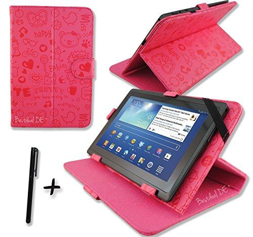 """Niedlichen Rosa PU Lederner Tasche Case Hülle für Point of View ProTab 3XXL & ProTab 25XXL 10.1"""" Zoll Inch Tablet-PC + Stylus Stift"""