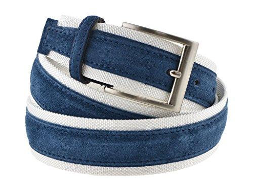 Cintura tela e camoscio uomo blu e bianco 4 cm in vera pelle artigianale made in Italy (115 cm (46/48 - 48/50 EU))