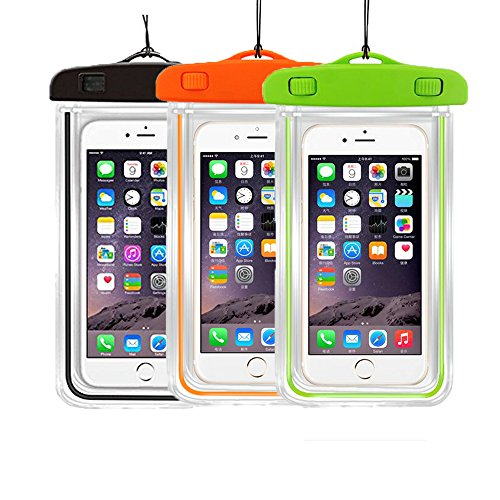 3Pack Universal Floatable Waterproof Cases Case Dry Bags CaseHigh Shop Transparent Covers Color Submersible for Cellphones Under 5.8 Inch Bumper Case Fashion Design (3 Pack:Black+Orange+Green) (Selfie Samsung Galaxy S4 Mini compare prices)