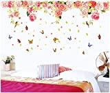 UberLyfe Rose Flowers and Butterflies Wall Sticker (Wall Covering Area: 70cm x 158cm)