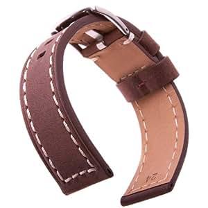 Bracelet de montre en cuir italien véritable Crazy Horse, Marron et Ivoire, 22mm