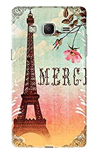 Blue Throat Merci Written With Eiffel Towerr Printed Designer Back Cover For Samsung Z3