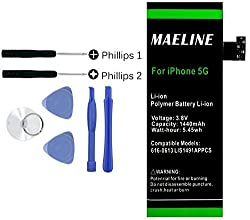 Maeline 1440mAh 3.8V Premium Li-Ion Battery Replacement Kit (Full Set of Tools) for iPhone 5 (5G) Compatible with GSM & CDMA Models A1428 / A1429 / A1442 [24-Month Warranty]
