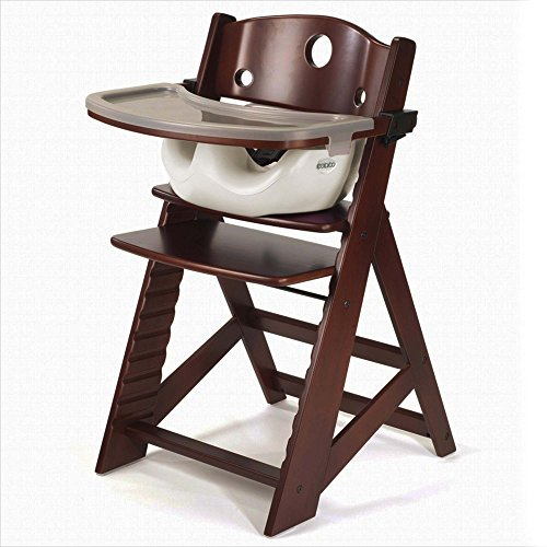 Keekaroo Height Right High Chair Mahogany with Infant Insert and Tray, Vanilla