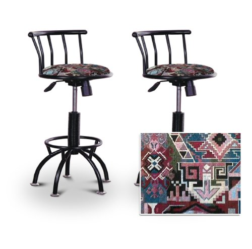"2 24""-29"" Native American Southwest Tapestry Seat Black Adjustable Specialty / Custom Barstools Set"