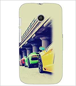 PrintDhaba Cars D-2169 Back Case Cover for MOTOROLA MOTO E (Multi-Coloured)