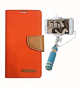 Aart Fancy Wallet Dairy Jeans Flip Case Cover for Xperias36h (Orange) + Mini Fashionable Selfie Stick Compatible for all Mobiles Phones By Aart Store
