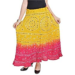 SHREEMANGALAMMART Ethnic Yellow Long Cotton Skirt(Lemon-Magenta)(SMSKT540)