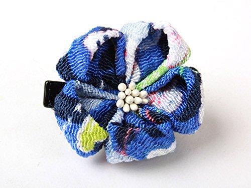 和風 梅花柄 ヘアピン 和装 髪飾り#ブルー