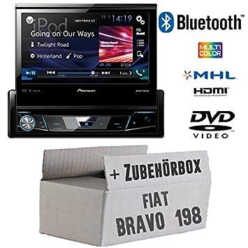 Fiat Bravo 198 - Pioneer AVH-X7800BT - 1-DIN 7-Zoll USB Bluetooth DVD - Autoradio - Einbauset