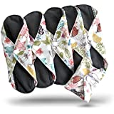 Heart Felt Bamboo Reusable Sanitary Pads X 5 with Charcoal Absorbency Layer. The Smartest New Way to Avoid Leaks, Odors and Staining. Save Hundreds of Dollars and Massive Amounts of Landfill Waste. Pretty Pattern, Secure Snap to Stay in Place and Total Peace of Mind with These Top Quality Reusable, Washable Menstrual Cloth Pads. Can Also Be Used for Period Panties