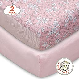 TillYou 2 Pack Fitted Crib Sheet-100% Cotton Sateen(Breathable and Healthy),Fit Standard Mattress Well--Pink & Pink Stripe Floral