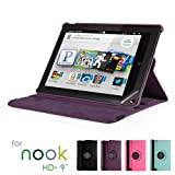 GMYLE(R) Purple 360 Degree Rotating PU leather Folio Stand Case Cover for Nook HD+ Plus 9 inches Barnes & Noble e-book Reader Tablet (Multi Angle- Vertical / Horizontal and Wake up Sleep Function) ~ GMYLE