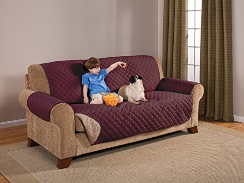 Elegante Luxurious Reversible Sofa Furniture Protector, Burgundy / Tan (Cheap Couch Covers compare prices)