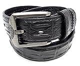 クロコダイル風デザイン レザー 牛革 ベルト メンズ 男性 スーツ ビジネス プレゼント用ケース付き belt-15(ブラック)