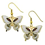 Gold Plated Butterfly Cloisonne Earrings - 27mm Width - White - Fishhook Backings