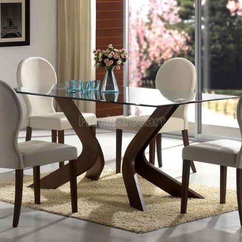 Cheap Glass Top Dining Table in Walnut Finish By Coaster (B005KBU702)