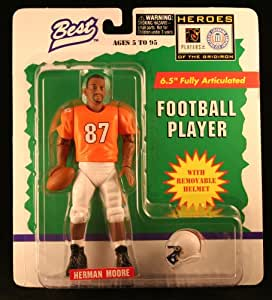 HERMAN MOORE / UNIVERSITY OF VIRGINIA CAVALIERS * 1997 NCAA College Football * 6.5 Inch * Best Heroes of the Gridiron Fully Articulated Action Figure & Removable Football Helmet