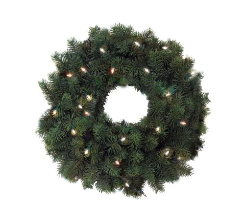 24″ Pre-Lit Full Angel Pine Christmas Wreath