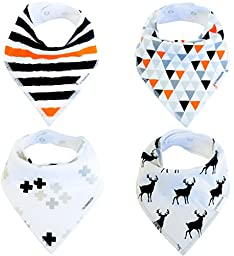 Baby Bandana Drool Bibs Organic 4 Pack for Boys and Girls with Snaps, Absorbent Soft Cotton for Teething Feeding Baby Shower Gift Burp Cloth (Black Grey Orange Stripe Unisex) From Lil Dandelion