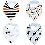 Baby Bandana Drool Bibs Organic 4 Pack For Boys And Girls With Snaps, Absorbent Soft Cotton For Teething Feeding...