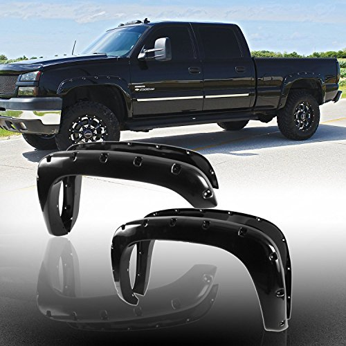 Audrfi 4pcs Smooth Blk Pocket Rivet clip-in Style Fender Flares Fit Chevy/GMC Multiple Model (2004 Suburban Fender Flares compare prices)