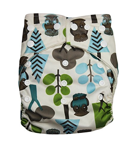 "Kawaii Baby One Size Organic Bamboo Terry Cloth Diaper with 2 Bamboo Inserts "" Trees """