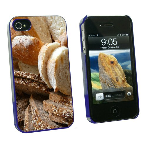 Bread - Loaf Rye Italian French - Snap On Hard Protective Case for Apple iPhone 4 4S - Blue