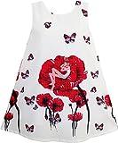 HP83 Sunny Fashion - Vestido con estampado floral para ni�a rojo 10 a�os