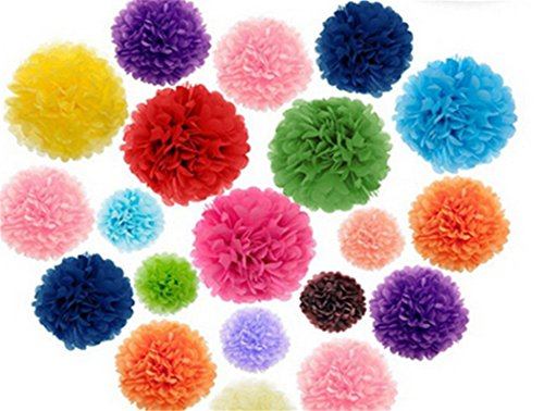 Derker 9pcs Mixed 3 Sizes Colorful Pom Poms Flower,Derker Fiesta Pom Poms Paper,Tissue Paper Flowers Kit,Pom Poms Craft For Baby Shower,Wedding Decor,Party Decor,Birthday Decor. (Multi-color) (Crepe Pom Pom compare prices)