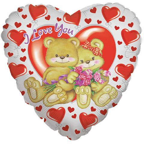 "18"" I Love You Bears With Roses (1 per package)"