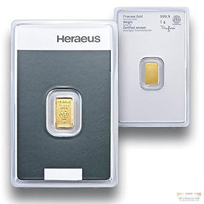 Goldbarren 1g - 1 Gramm Gold - Heraeus - Feingold 999.9 - Prägefrisch - LBMA zertifiziert