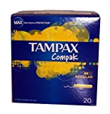 Tampax Compak Regular Absorbency 20 Retractable Applicator Tampons