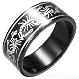 Gents Black Stainless Steel Band Ring With Scorpion Design, 8mm Wide.