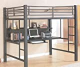 Contemporary Charcoal Gray Metal Loft Bed & Computer Workstation