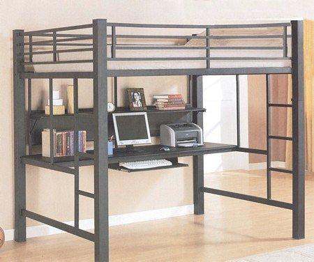 Contemporary Black Metal Loft Bed Amp Computer Workstation