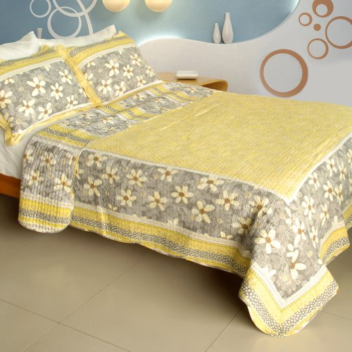 [Gentle Protection] 100% Cotton 3Pc Vermicelli-Quilted Patchwork Quilt Set (Full/Queen Size)